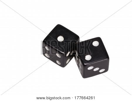 Two dice showing one and two, on white background.