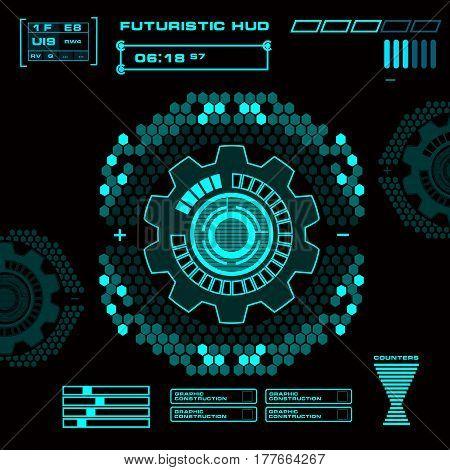 Futuristic Green Virtual Graphic Touch User Interface