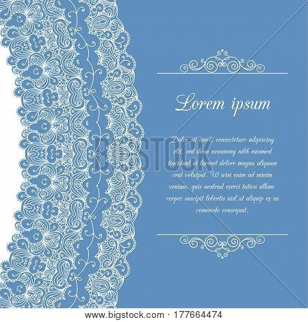 Vintage background ornamental lace border. Greeting card or invitation template. Vector illustration