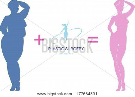 Vector illustration of young beautiful sexy gracile woman before and after plastic surgery poster design concept for plastic surgery clinics.