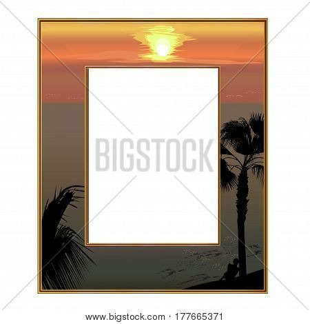 Photoframe: the sea coast at sunset and the lonely young man under a palm tree