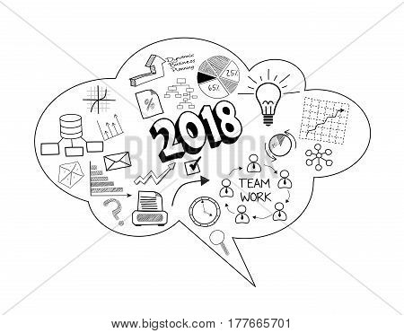 Illustration of business speech bubble of new year 2018
