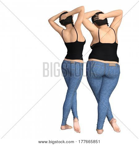 Conceptual fat overweight obese female vs slim fit healthy diet with muscles thin young woman isolated  3D illustration