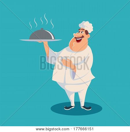 Chef serving the dish. Funny chef character. Vector stock.