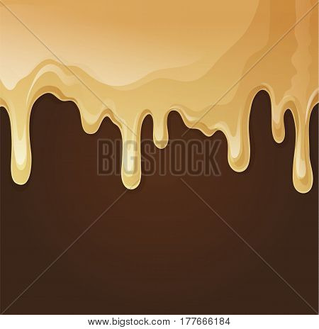 Melted white chocolate flow down. Chcolate splashes. Sweet background. Vector stock.