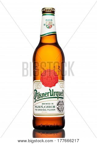 London,uk - March 21, 2017 :  Bottle Of Pilsner Urquell Beer On White.it Has Been Produced Since 184