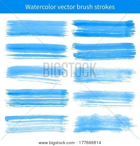 Bright blue watercolor brush vector strokes. Element for your design.