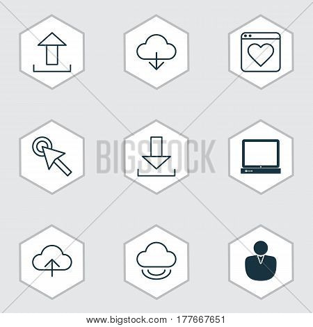 Set Of 9 Web Icons. Includes Account, Virtual Storage, Login And Other Symbols. Beautiful Design Elements.