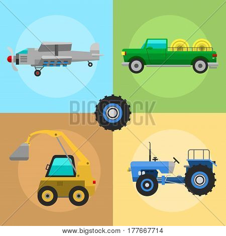 Set of different types cards of agricultural vehicles and harvester machine combines and excavators icon set with accessories for plowing mowing, planting and harvesting vector illustration.
