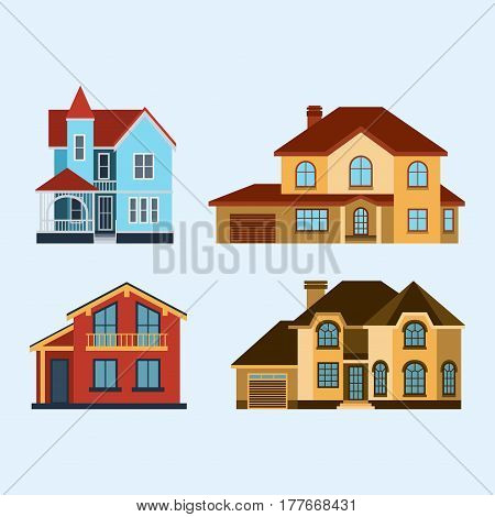 Houses front view vector illustration. Houses flat style modern constructions vector. House front facade building architecture home construction, urban house buildings apartment front view
