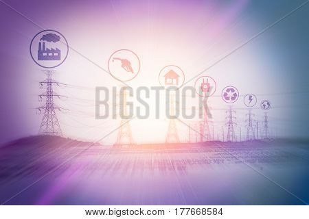 The advantage of power plant icon on electric pole background