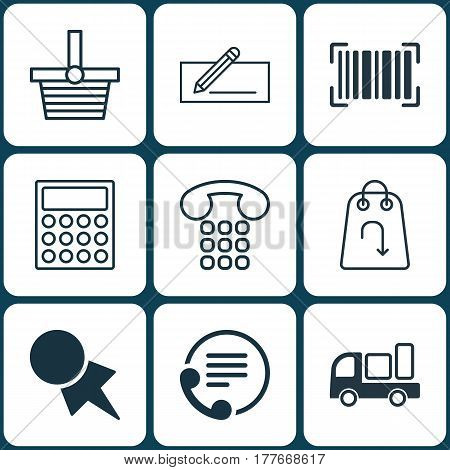 Set Of 9 E-Commerce Icons. Includes Money Transfer, Telephone, Discount Coupon And Other Symbols. Beautiful Design Elements.