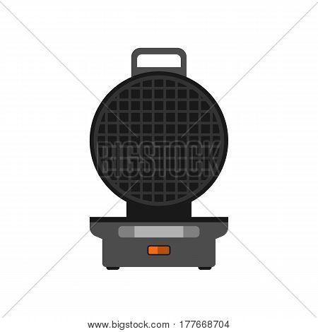 Waffle maker machine easy to do food at home appliance kitchen cook breakfast preparing and dessert kitchenware wafer nutrition vector illustration. Electric belgian crispy equipment grill.