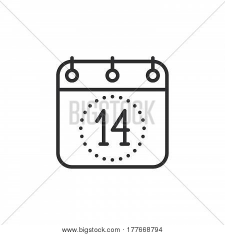 Calendar Fourteenth of December line icon outline vector sign linear pictogram isolated on white. Valentines day symbol logo illustration