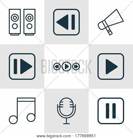Set Of 9 Multimedia Icons. Includes Mike, Music Control, Following Music And Other Symbols. Beautiful Design Elements.