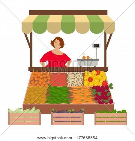 Seller woman on the market. There is a counter, scales and vegetables: cucumbers. tomatoes, onions, potatoes, carrots, beets, sweet peppers, eggplant and zucchini in the picture. Vector illustration.