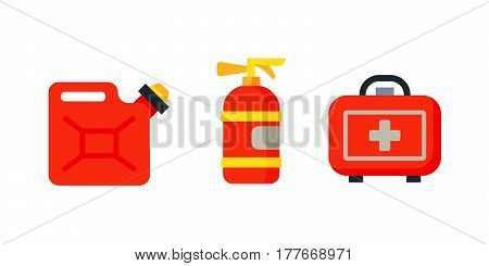 Safety car medical kit isolated canister fire extinguisher and health care design ambulance icon case transportation warning vector illustration. Accident extinguisher vehicle danger red sign.