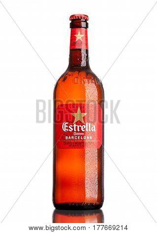 London,uk - March 21, 2017 : Bottle Of Estrella Damm Beer On White Background, Estrella Damm Is A Pi