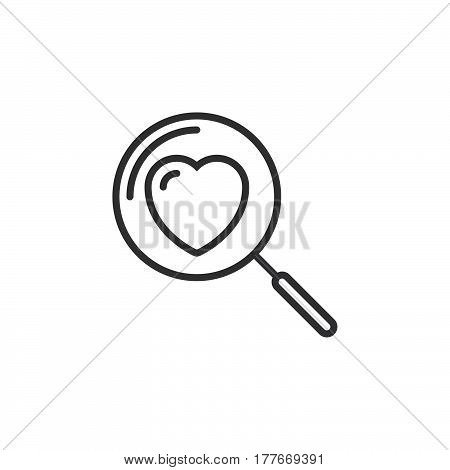 Magnifying glass with heart line icon outline vector sign linear pictogram isolated on white. Searching A Love Symbol logo illustration