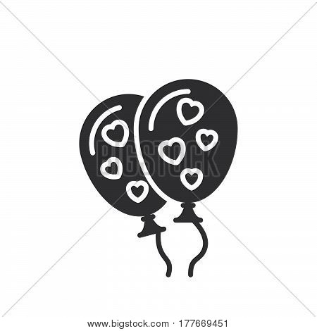 Balloons with hearts icon vector filled flat sign solid pictogram isolated on white. Symbol logo illustration