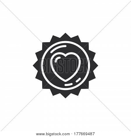 Label with heart sticker icon vector filled flat sign solid pictogram isolated on white. Symbol logo illustration