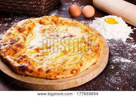 Khachapuri. Georgian cuisine. Georgian food Food concept