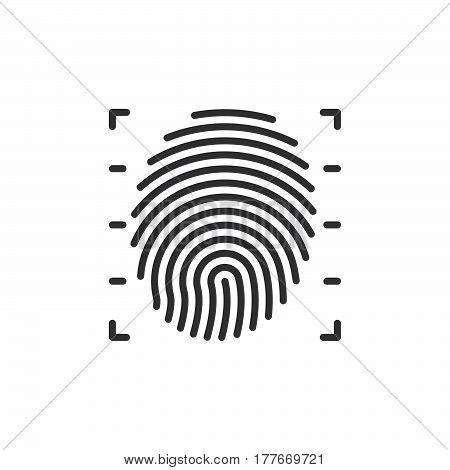 Fingerprint scan line icon vector sign linear pictogram isolated on white. Symbol logo illustration