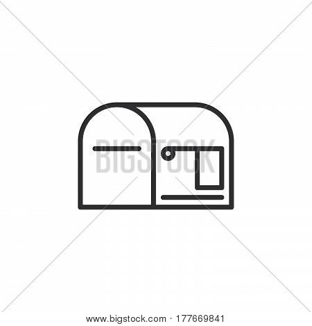Mail box empty line icon outline vector sign linear pictogram isolated on white. Symbol logo illustration