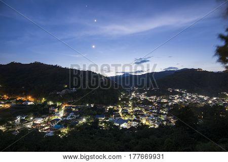 Maesai Chiangrai night cityscape view near tachileik between thai and myanmar market at northest province of thailand