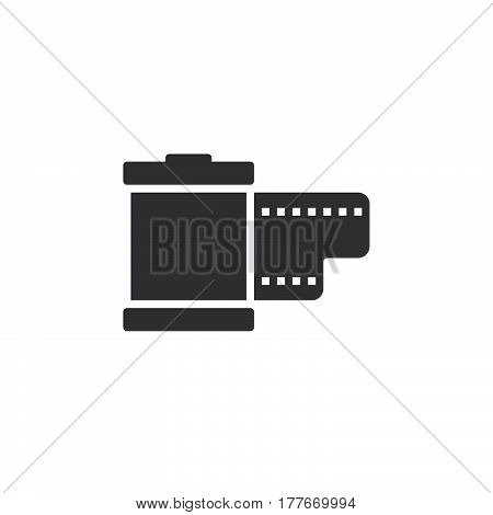 Film cartridge icon vector filled flat sign solid pictogram isolated on white. Symbol logo illustration