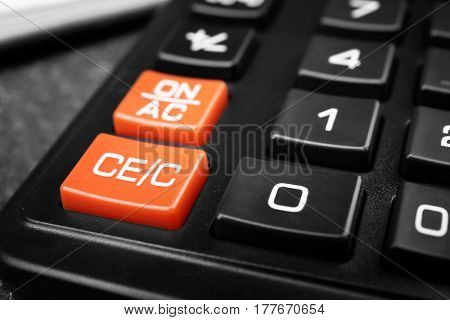 Black calculator, closeup