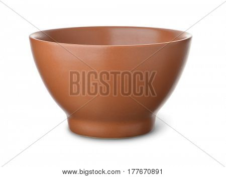 Empty brown ceramic bowl isolated on white