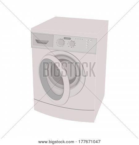 Washing machine isolated flat icon on white background. Washer