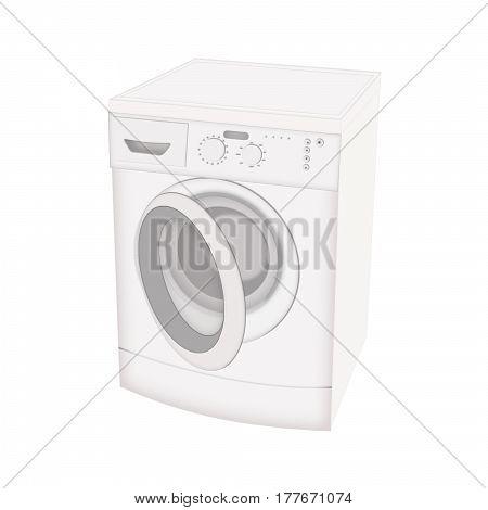 Washing machine isolated flat icon on white background