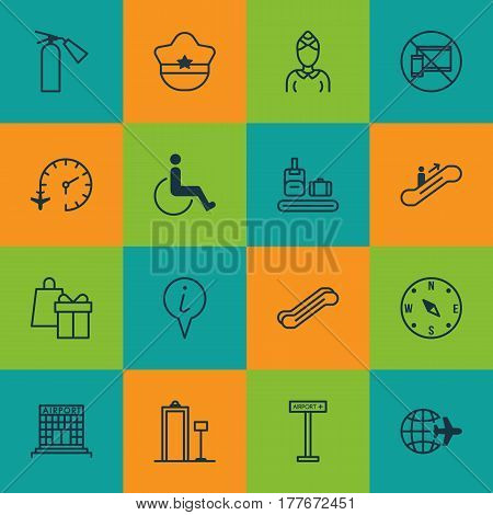 Set Of 16 Travel Icons. Includes Locate, Airplane Information, Stair Lift And Other Symbols. Beautiful Design Elements.