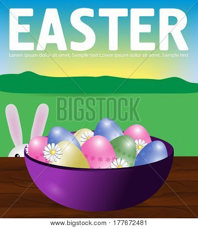 Poster Easter eggs in a purple plate on a wooden table. Bunny peeps. Background field sky and sun. Vector illustration.