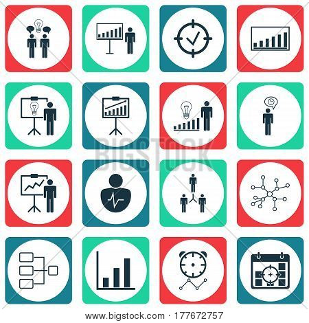 Set Of 16 Executive Icons. Includes Personal Character, Co-Working, Solution Demonstration And Other Symbols. Beautiful Design Elements.