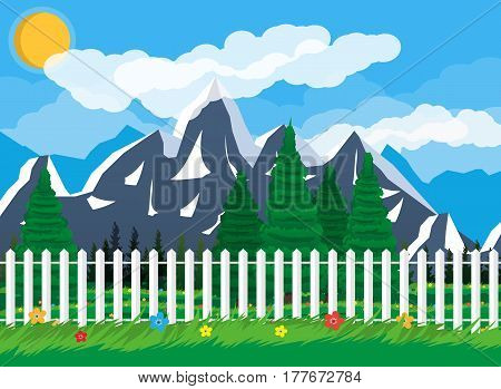 Summer nature landscape with mountains, forest, grass, flower, fence, sky, sun and clouds. National park. Vector illustration in flat style