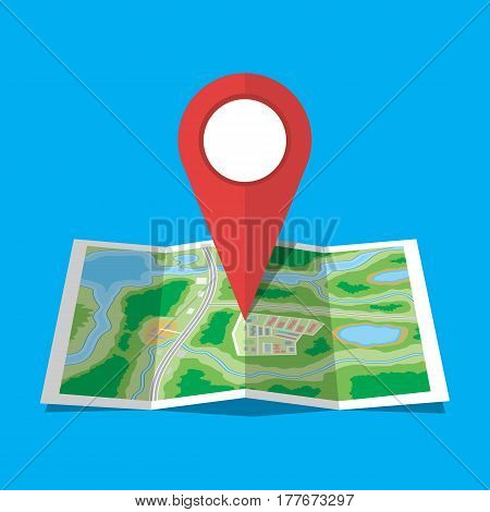 Folded paper city suburban map. Abstract generic map with roads, buildings, parks, river, lake. GPS and navigation. Vector illustration in flat style