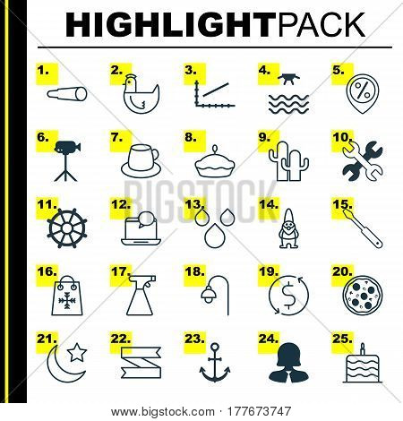 Set Of 25 Universal Editable Icons. Can Be Used For Web, Mobile And App Design. Includes Elements Such As Turn Screw, Sprinkler, Trading And More.