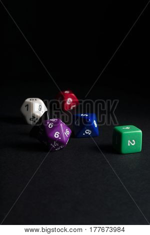 Multi-sided dice used for playing fantasy role playing games