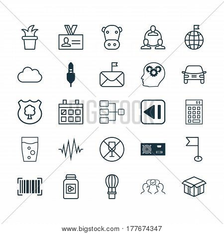 Set Of 25 Universal Editable Icons. Can Be Used For Web, Mobile And App Design. Includes Elements Such As Open Cardboard, Soda Drink, Alcohol Forbid And More.