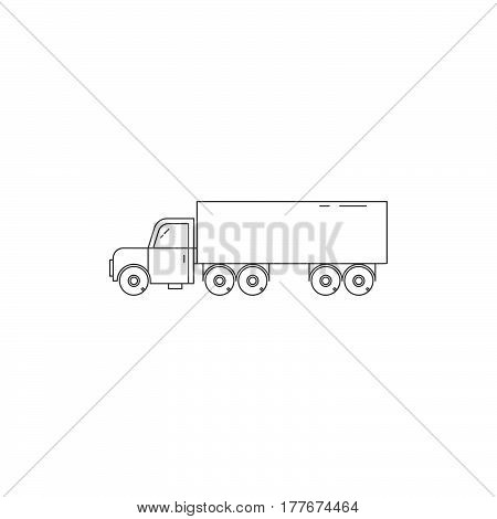 Vector trailer line icon isolated on a white background. Wood transportation equipment.