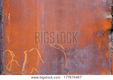 Texture of rusty sheet metal and welding seams the edges.