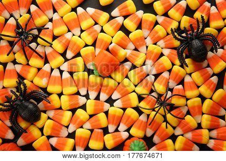 Tasty Halloween candies as background