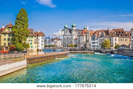 Beautiful view of the historic city center of Lucerne with famous baroque Jesuit Church St Franz Xaver on a sunny day with blue sky and clouds in summer Canton of Lucerne Switzerland