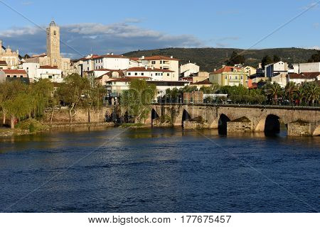 City and Romanesque bridge Mirandela Tras-os-Montes e Alto Douro Portugal