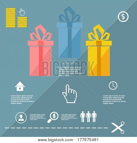 Gift Business Infographic Elements, Flat Design