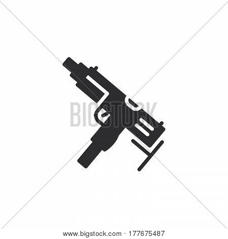 Submachine gun icon vector filled flat sign solid pictogram isolated on white. Symbol logo illustration