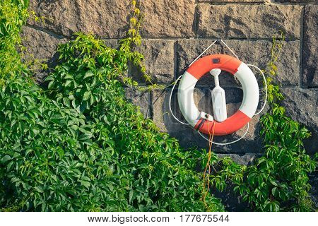 Lifebuoy on stone wall at waterfront in Stockholm Sweden Scandinavia Europe.